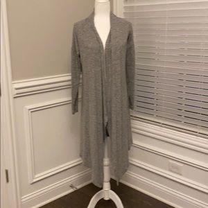 White House Black Market long gray cardigan M